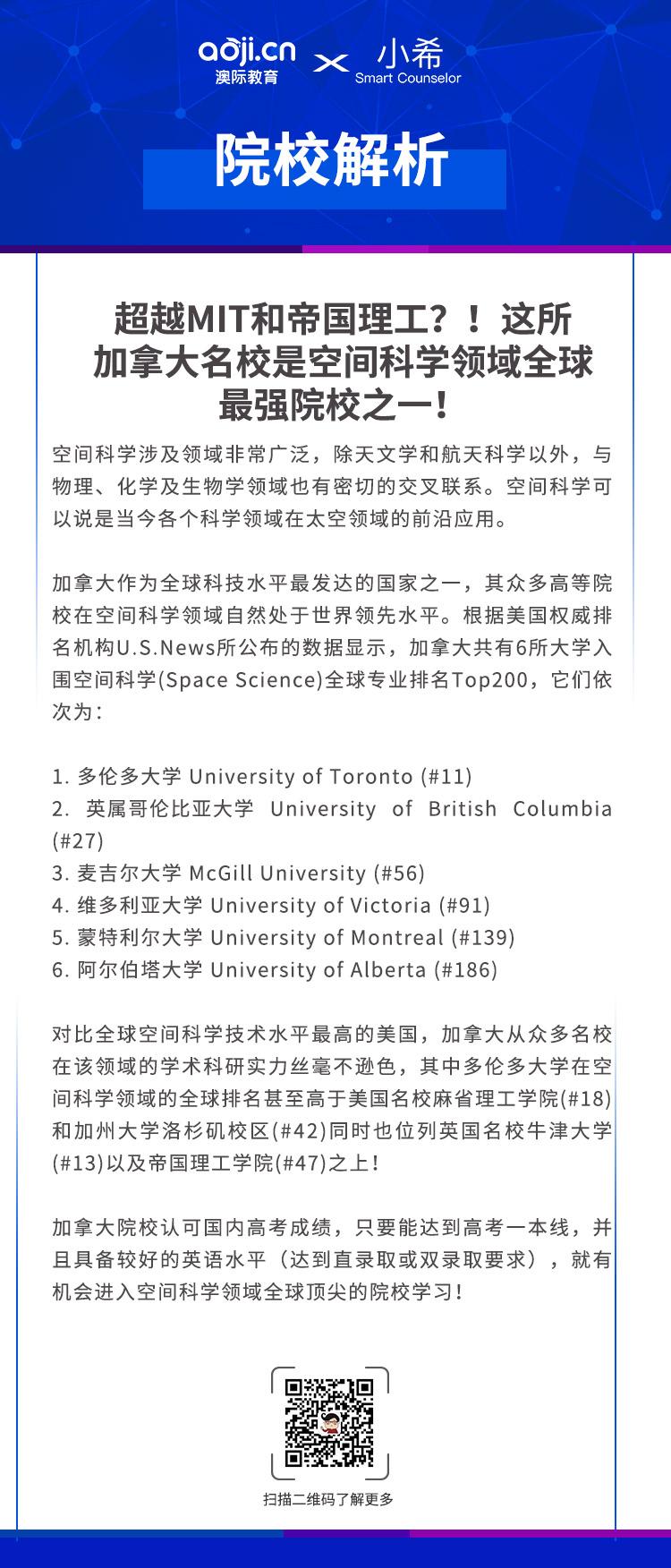 超越MIT和帝國理工?!這所加拿大名校是空間科學領域全球最強院校之一!